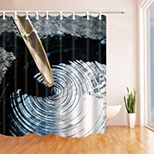 GoEoo Zen Decor The Water Flows into The Stone from The Wooden Bamboo Shower CurtainResistant Polyester Fabric Bathroom Decorations Bath Curtains Hooks Included 69X70 inches