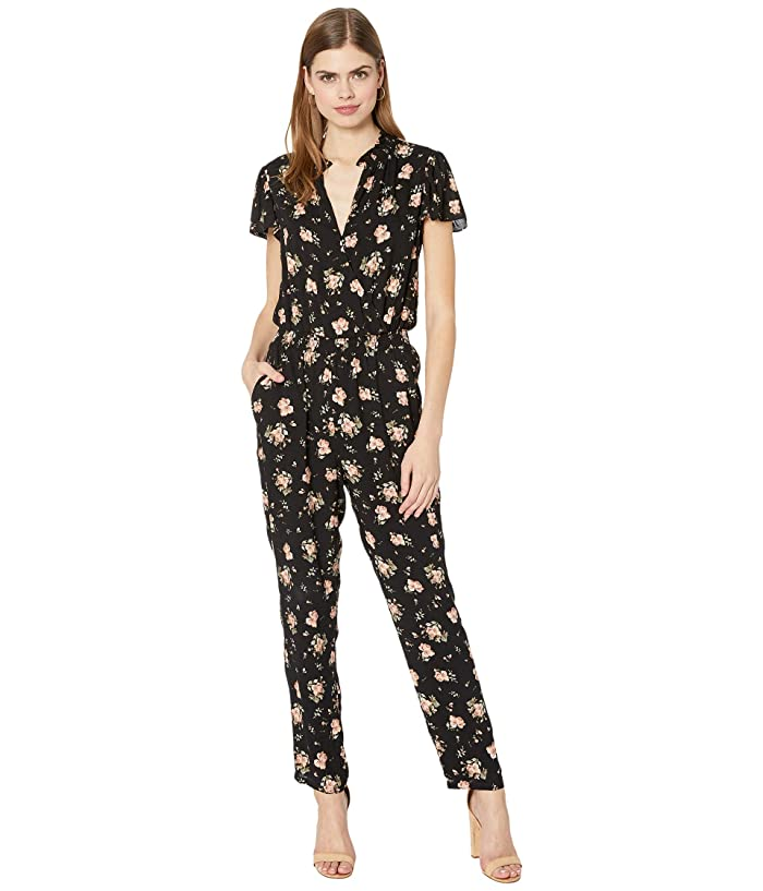 1.STATE  Festival Roses Flutter Sleeve Jumpsuit (Rich Black Festival Bloom) Womens Jumpsuit and Rompers One Piece
