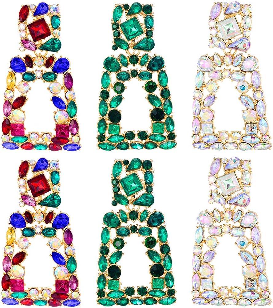 2 New item 3 Pairs Rhinestone Rectangle Geometri and Regular store Dangle Earrings Gold