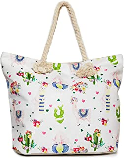 Llama Beach Shoulder Tote Bag - White Llama Weekender Travel Bag - Comes with Quick Reach Zipper Pouch