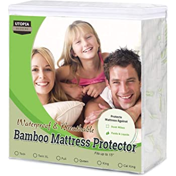 Utopia Bedding Premium 300 GSM Bamboo Mattress Protector, Fits 17 Inches Deep, Easy Care (King)