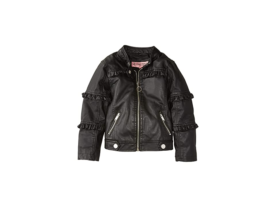 Urban Republic Kids Bella Faux Leather Ruffle Jacket (Little Kids/Big Kids) (Black) Girl