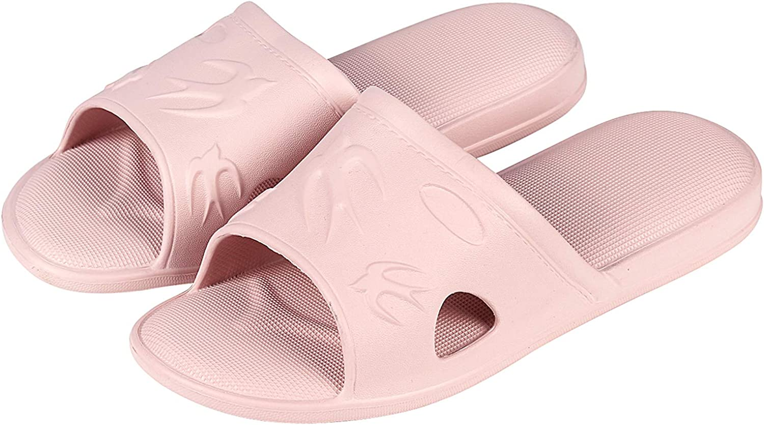 Shevalues Flexible Plastic Bath Slippers Cushioned Cozy House Slippers Emboss Bird Quick Dry Shower Sandal Pink L
