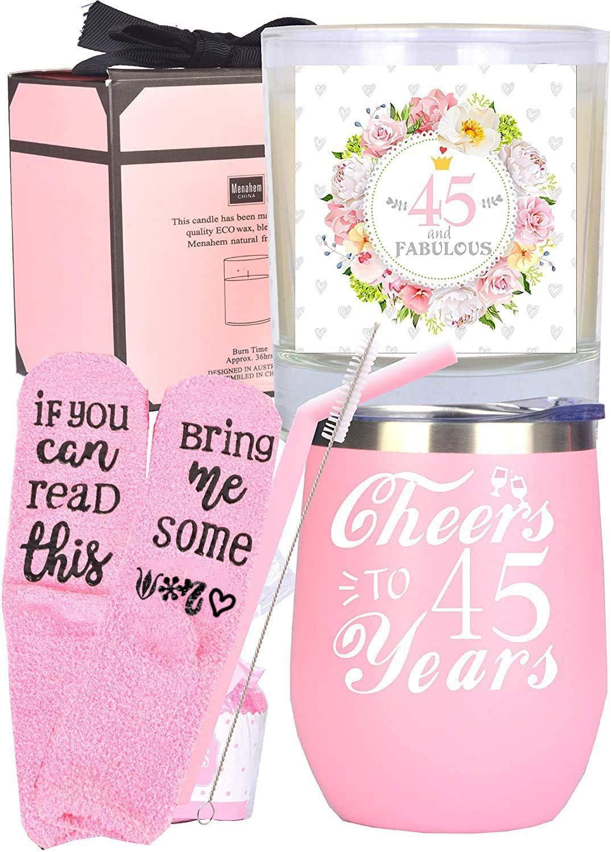 45th Birthday Gift Present Idea For Ladies Her Women 45 Pink Socks Fun Keepsake