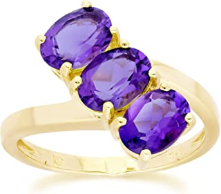 Yellow Gold 9k 3 Oval Amethyst 7x5 mm Anniversary Ring Size 7, and 7.5 Contemporary Design for Women February Birthstone P...