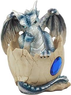 "Ebros September Birthstone Dragon Egg Statue 4.25"" Tall Blue Sapphire September Birthstone Gem Symbol Hatchling Dragon Collector Figurine"