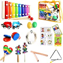 SMART WALLABY Musical Instruments Set & Puzzle Card Game for Kids | 15 Pcs. Toddler Wooden Toy Percussion Set with Xylophone Plus a Bonus Musical Activities eBook (Little Band with Matching Puzzle)