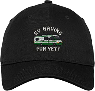 Speedy Pros Rv Having Fun Yet? Embroidered Unisex Adult Flat Solid Buckle Cotton Unstructured Hat Low Profile Cap - Black, One Size