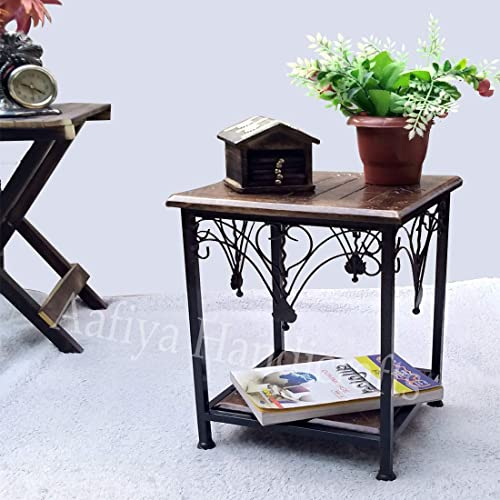 Aafiya Handicrafts Wooden and Wrought Iron Side Table for Living Room and Bedroom Furniture