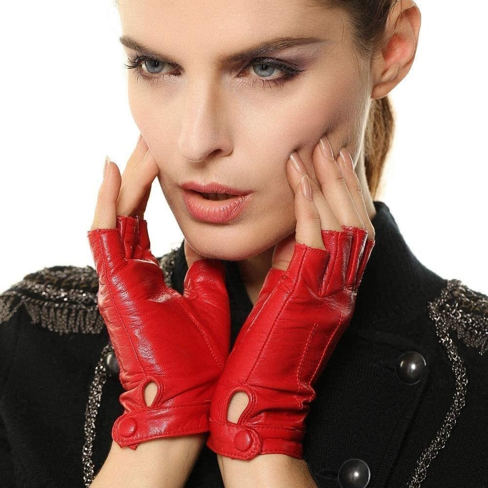 KEKEYANG Women's Genuine Leather Half Finger Gloves Unlined Goatskin Gloves Fingerless Gym Fitness Gloves Locomotive Street Dance Fashion Half Finger Touch Screen Sheepskin Mitten Gloves Mittens
