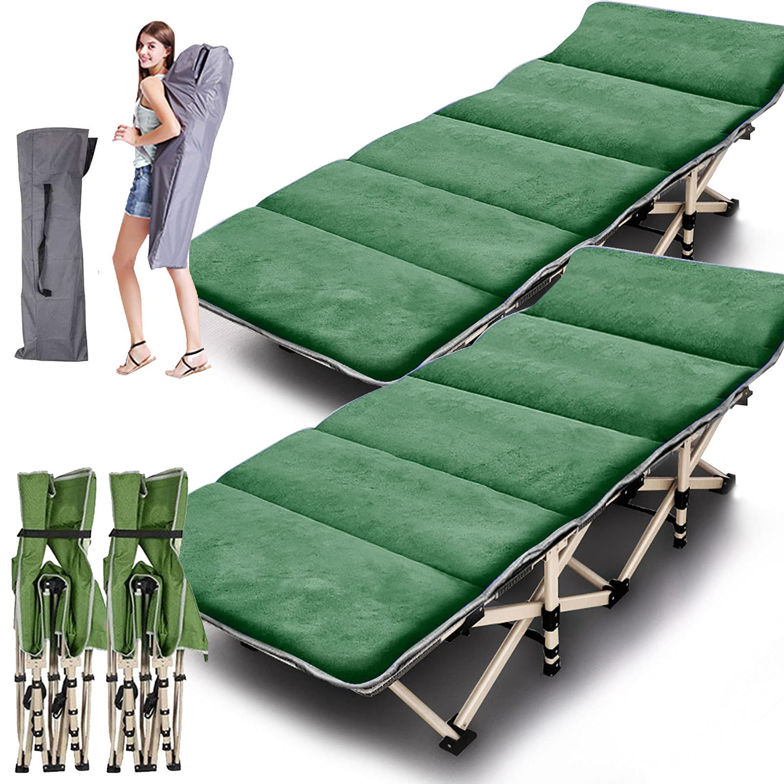 ABORON 2 Pack Camping Cots for Adults, Folding Cots Portable w/Mattress, Heavy Duty Sleeping Cots for Heavy People, with Carrying Bag