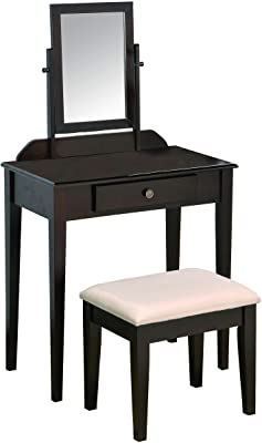 Amazon Com Vasagle Vanity Set With Flip Top Mirror Makeup Dressing Table Writing Desk With 2 Drawers Cushioned Stool 3 Removable Organizers Easy Assembly Black Home Kitchen