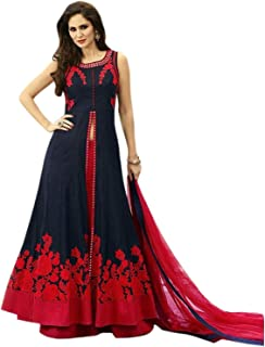 6a5e7b9465 Drashti villa Women's Embroidered Semi Stitched Anarkali Gown (Free Size)  (Blue)