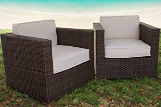 International Home Miami Bellagio 2 Piece Wicker Patio Armchair Set with Off-White Cushions