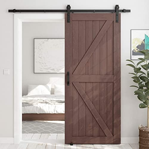 new arrival SMARTSTANDARD 36in x high quality 84in Sliding Barn Door with 6.6ft Barn Door sale Hardware Kit & Handle, Pre-Drilled Ready to Assemble, DIY Unfinished Solid Spruce Wood Panelled Slab, K-Frame, Coffee outlet sale