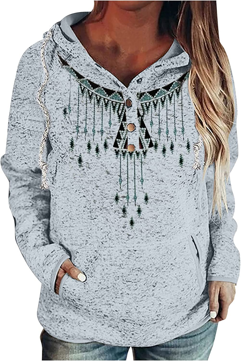 Pullover for Women Button Down Hoodies Ranking Reservation TOP17 Hooded Casual Drawstring