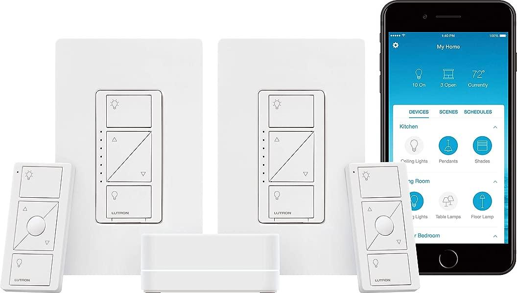 Lutron Caseta Wireless Smart Lighting Dimmer Switch 2 Count Starter Kit P BDG PKG2W A Works With Alexa