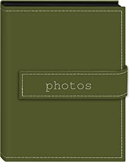 Pioneer Photo Albums 36-Pocket 4 by 6-Inch Embroidered Photos Strap Sewn Leatherette Cover Photo Album, Mini, Sage Green