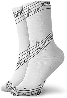 Be-ryl, Calcetines de la tripulación Notas Musicales Pintura Calcetín atlético Cojín Anti Olor Personalizado Personalizado Calcetín de Arranque Corto