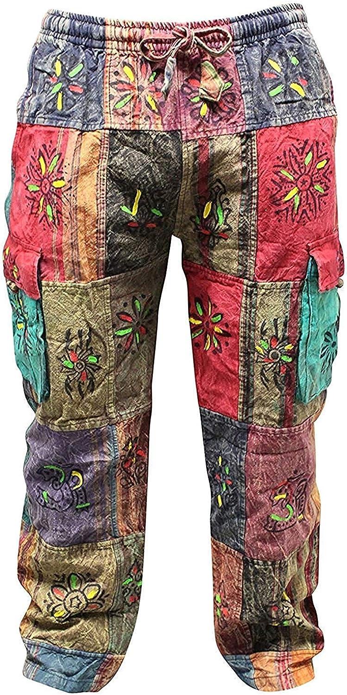 Men's Patchwork Cargo Trouser Wide Hippie Leg Casual Soldering Miami Mall Co Festival