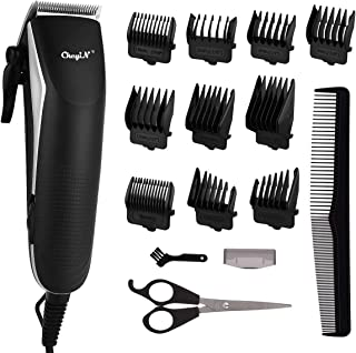 Hair Clippers for Men, CkeyiN Electric Hair Trimmer Clipper Home Haircut & Grooming Kit with 10 Guide Combs 1 Scissor 1 Co...