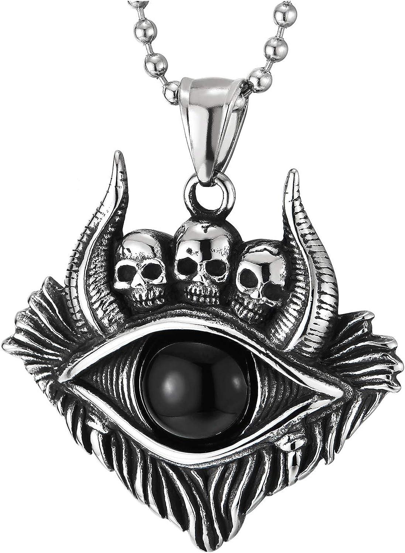 Men Women Steel Vintage Tribal Protection Bull Eye Horn Skull Medal Pendant Necklace Black Onyx Bead
