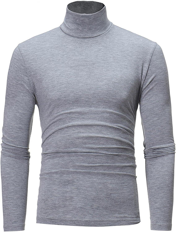 WUAI-Men Casual Slim Fit Mock Turtleneck Shirt Lightweight Long Sleeve Basic Designed Thermal T-Shirts Pullover Tops