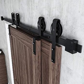 skysen 6.6FT Low Ceiling Heavy Duty Sliding Barn Door Hardware Double Track Bypass Double Door Kit Black Bypass I Shape-2
