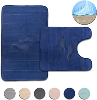 Freshmint Bath Mat Set, Large Size 32 by 20, Contoured Toilet Bathroom Rugs Coral Fleece Thick Memory Foam Padded, Super Absorbent Bath Rug, Soft, Non-Slip, Super Cozy Velvet Floor Mat, Navy