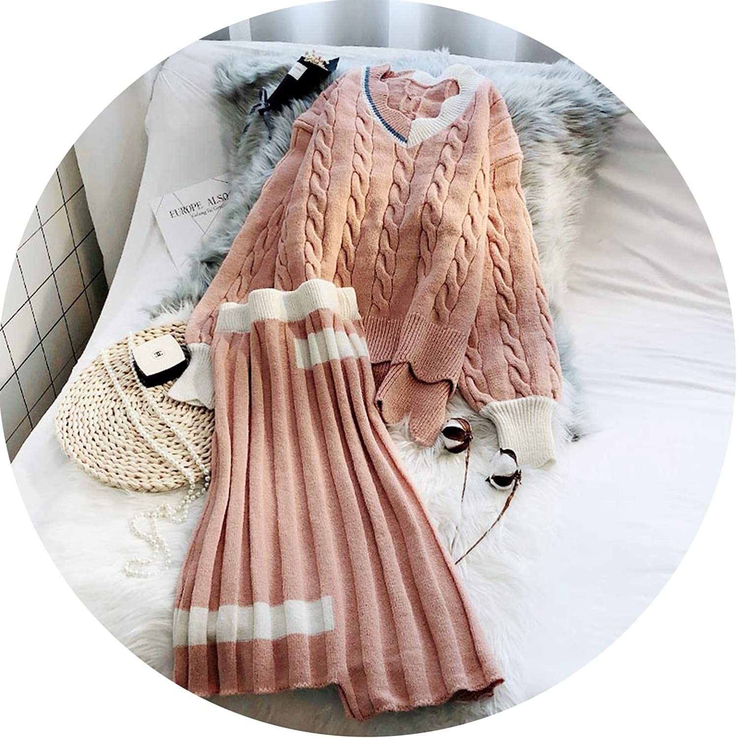 Casual Knit Suits Skirt Irregular Womens Wool Suits Autumn Winter Sweater Sets