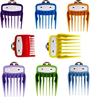 "Cosyonall 8 Sets 8 Color Guide Combs for Most Hair Clippers/Trimmers–8 Cutting Lengths from 1/8""to 1""(3-25mm with Aluminum Sheet)–Great for Professional Stylists and Barbers"