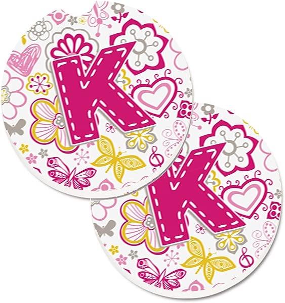 Caroline S Treasures Letter K Flowers Butterflies Pink Set Of 2 Cup Holder Car Coasters CJ2005 KCARC 2 56 Multicolor