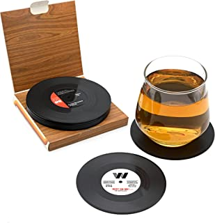 Drink Coasters, 6Pcs Retro CD Record Coaster Set Round Cup Mat with Non-slip Tabletop Protection for Coffee Tea Beer Mug W...
