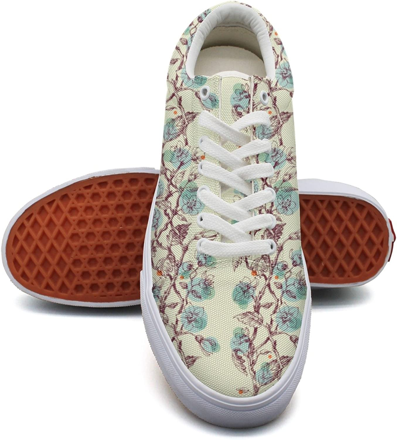 Climbing Flowering Plants Womens Printed Canvas Tennis shoes Low Top Trendy Tennis shoes for Women's