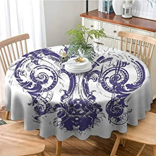 ONECUTE Dust Proof Round Tablecloth,Summer and Outdoor Picnics,Fleur De Lis Digital Grunge Lily Emperor Flag Victorian Kingdom Imperial Theme Print Purple White 66
