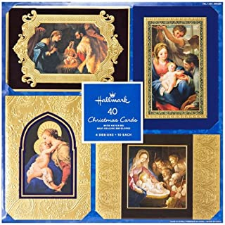 Hallmark 40 Christmas Holiday Cards with Matching Self Sealing Envelopes - 4 Designs 10 Each