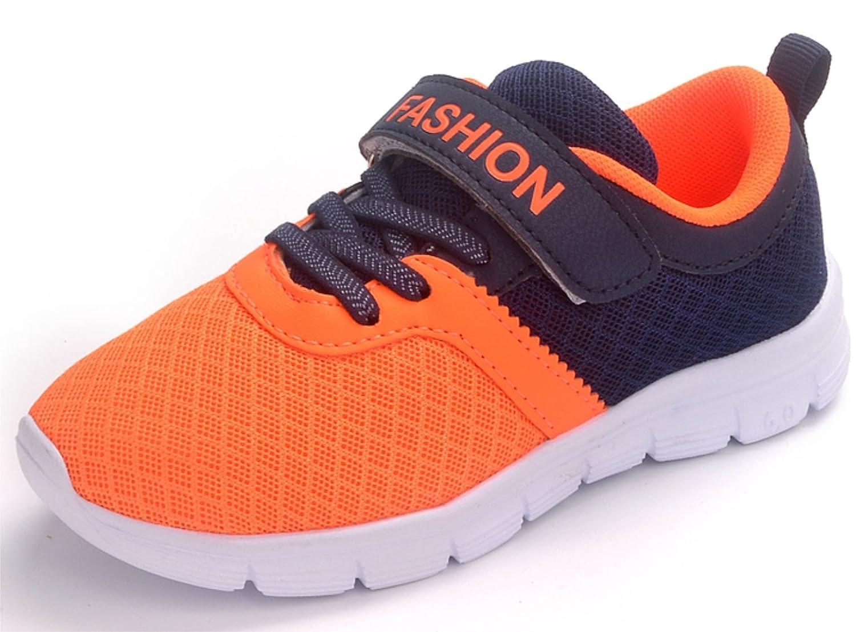 (ダダウン)DADAWEN 子供靴 スニーカー 男の子 女の子 運動靴 通気 コンフォート ジュニア スポーツシューズ 履き心地抜群 滑り止め 通学靴 オレンジ 16.5cm