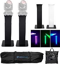 2) Totem Stands+Black+White Scrims For (2) Chauvet Rogue R1 Wash Lights