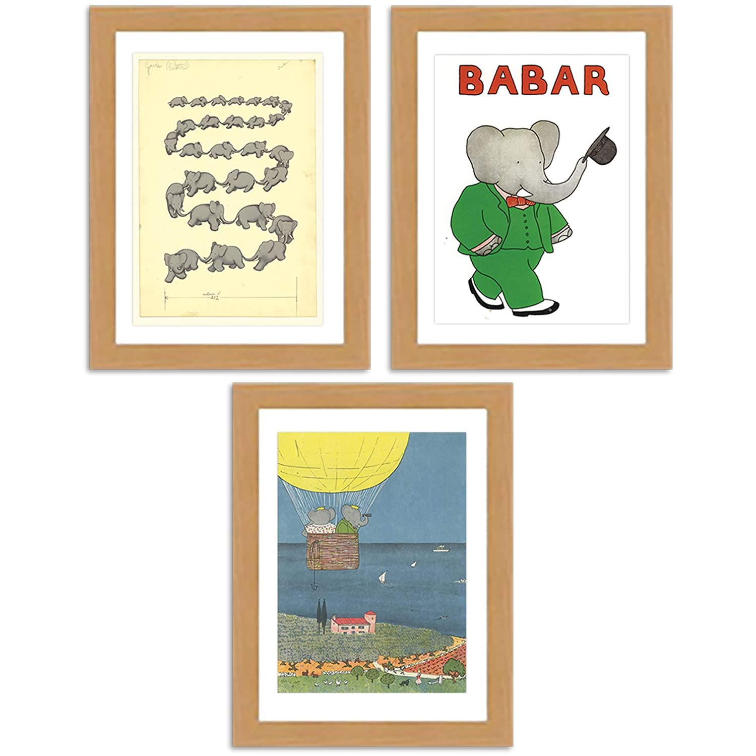 Lovely Babar Genuine the elephant Collection A3 of Max 45% OFF Satin 3 reproduction