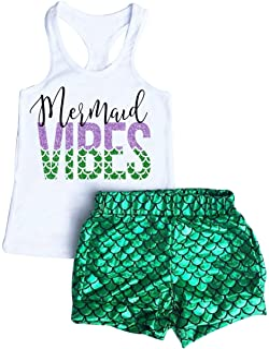 EGELEXY Summer Baby Girls Mermaid Vibes Print Vest Tops Fish Scale Short Pants Sets