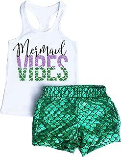 2Pcs Baby Girls Mermaid Vibes Print Vest Tops Fish Scale Short Pants Sets