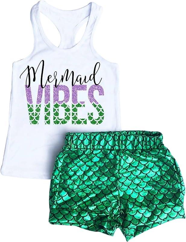 2Pcs Baby Girls Summer Mermaid Vibes Letter Printed Vest Tops Short Pant Sets