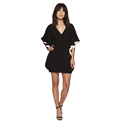 Halston Heritage Color Blocked V-Neck Dress w/ Flounce (Black/Cream) Women