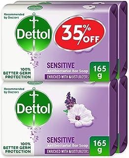 Dettol Sensitive Anti-Bacterial Bar Soap 165g Pack Of 4 - Lavender & White Musk
