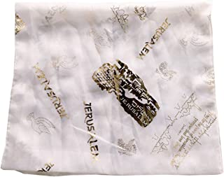 Messianic/Christian Head Scarf - Model II - 100% Polyester, Hand wash (180 x 120 cm OR 20 x 60 inches) (White)