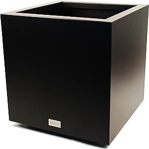 Veradek Metallic Series Galvanized Steel Large Cube Planter, 28-Inch Height by 27-Inch Width by 27-Inch Length, Black (CUVLGB)