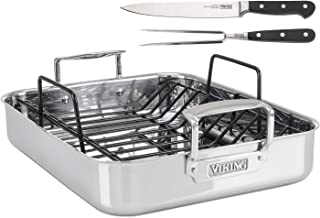 Viking Culinary 4013-9902 3-Ply Stainless Steel Roasting Pan with Nonstick Rack + BONUS 8