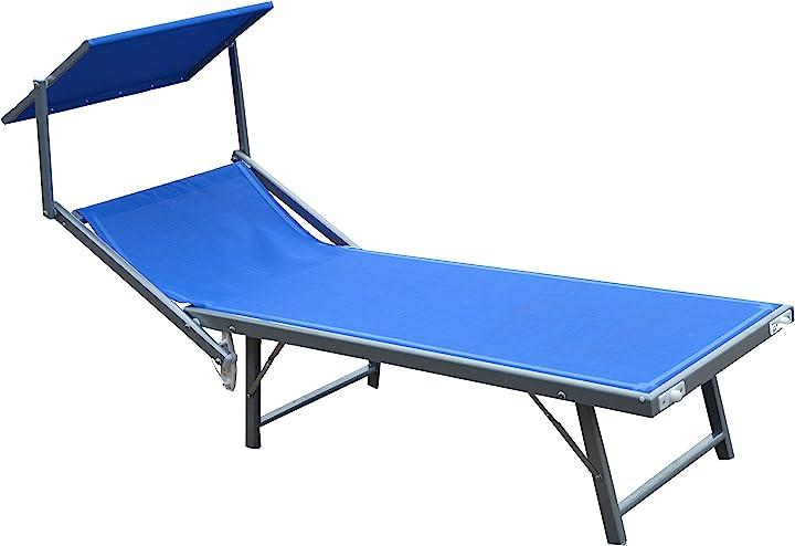 Lettino mare  piscina ibiza in textilene 580 gr/m² colore blu garden friend L1532418