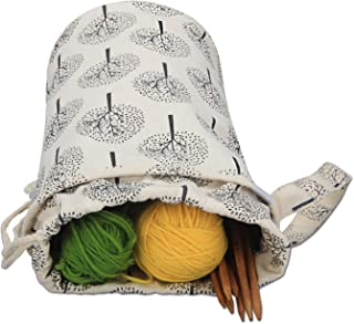Luxja Small Yarn Storage Bag, Portable Knitting Bag for Yarn Skeins, Crochet Hooks, Knitting Needles (up to 10 Inches) and Other Small Accessories (Small/Trees)