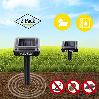 XMSTORE Mole Repellent, Upgrade 2 Pack Solar Powered and Ultrasonic Gopher/Rodent/Vole Repellent